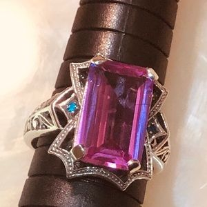 Beautiful 12ct Pink Sapphire 925 Art Nouveau Ring